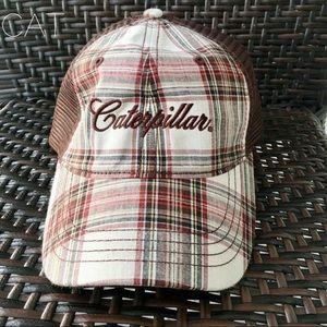 CAT-plaid ball cap mesh adjustable back